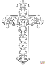 celtic designed cross coloring page free printable coloring pages