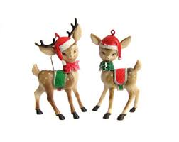 Gold Christmas Reindeer Decorations by Vintage Reindeer Figurines Christmas Decor Gold Bells