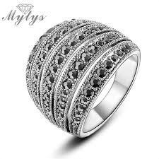 aliexpress buy new arrival hight quality white gold mytys 2018 new arrival ring black zircon white gold color