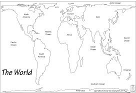 Labeled World Map by Outline Base Maps
