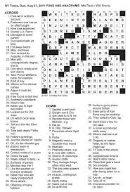 usa today crossword answers july 22 2015 the new york times crossword in gothic 08 21 11 puns and anagrams