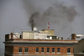 sf russian consulate before closure smoke pours from roof