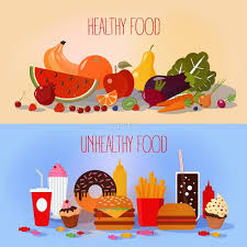 healthy food and unhealthy fast food fruits and vegetables or
