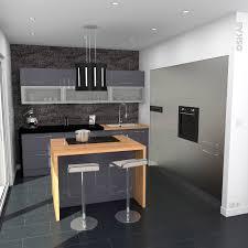Credence Design Impression Cuisine Industrielle Design Bleu Gris Et Inox Avec Ilot Central