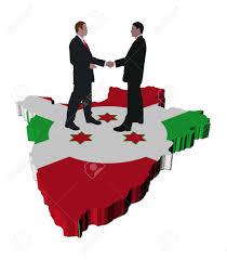 Burundi Map Business People Shaking Hands On Burundi Map Flag Illustration