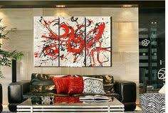 free shipping handpainted modern abstract back white red 4 piece
