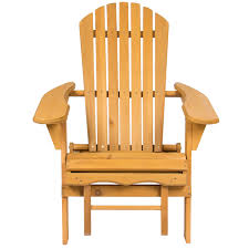 Patio Wooden Chairs Bcp Outdoor Wood Adirondack Chair Foldable W Pull Out Ottoman