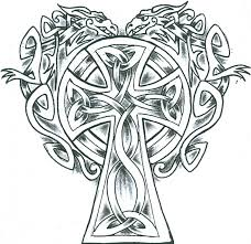 simple celtic dragons cross design tattoomagz