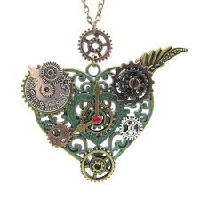 vintage necklace pendant images 2017 newest style nice pattern heart pendant with various gears jpg