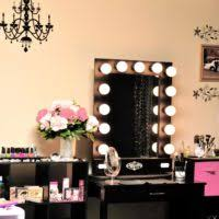 Vanity For Makeup With Lights Furniture Black Stained Wooden Professional Makeup Vanity Table