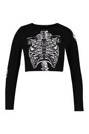 Halloween Skeleton Top by Boohoo Plus Hannah Halloween Skeleton Crop Top In Black Lyst