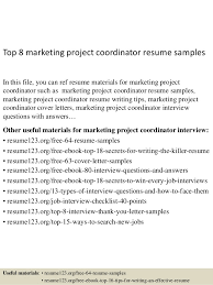 Sample Project Coordinator Resume by Project Coordinator Resume Marvelous Design Ideas How To Write A
