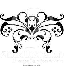 vector illustration of a black and white swirl butterfly tattoo