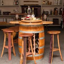 wine tables and racks napa east wine barrel 5 piece counter height table set with open
