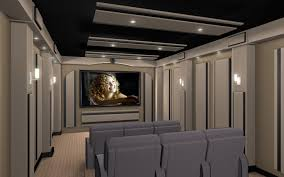 interesting home theater design ideas with grey linen cinema seats