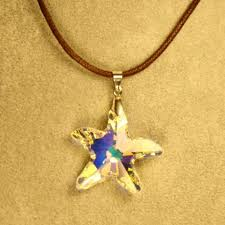 swarovski necklace leather images Starfish swarovski crystal necklace with brown cord jpg