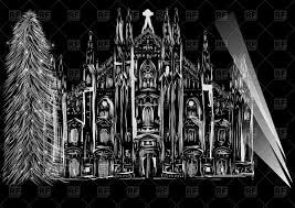 white sketch of gothic cathedral and christmas tree isolated on