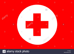 Flag Red With White Cross Red Cross Icon A Red Cross In A White Circle On A Red Background