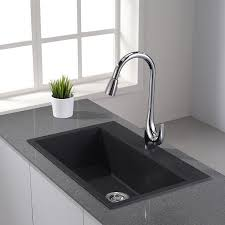 Kitchen Sinks With Faucets Ideas Mesmerizing Gorgeous Black Granite Kitchen Sinks Adn