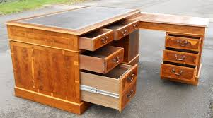 Yew Filing Cabinets Burr Yew Wood Three Pedestal Writing Desk Sold