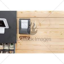 nearly empty cash register drawer on table gl stock images