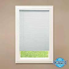 hampton bay white cordless 1 in blackout vinyl mini blind 34 in