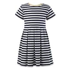 rachel riley short sleeve navy ivory striped jersey dress