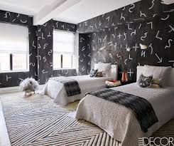 Black And White Modern Rug by Bedroom Low Lying Bed Black White Bedroom Striped Rug Ideas