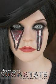 these creepy doll zipper temporary tattoos and the o