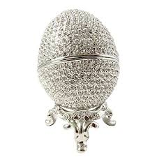 metal crystal ring holder images Faberge style rhodium plated egg ring holder jewelry box with jpg