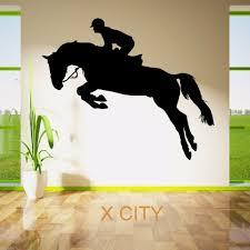 online get cheap horse vinyl stickers aliexpress com alibaba group horse jumping show rider jockey sport silhouette wall sticker vinyl art window decal door stencil room