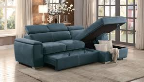homelegance blue sectional sofa with storage 8228bu savvy