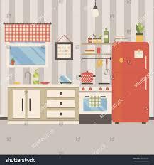 Interior Design Of Kitchen Vector Illustration Kitchen Interior Flat Minimalistic Stock
