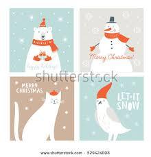 christmas vector card cartoon rabbit fox stock vector 497823640