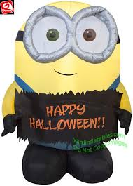 Inflatable Halloween Costumes Gemmy Airblown Inflatable 4 U0027 Minion Bob Holding Halloween Sign