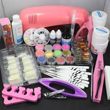 nail art uv gel kit tools pink uv lamp brush tips glue acrylic