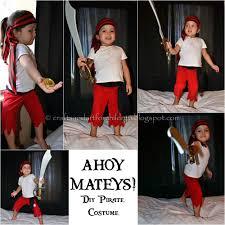 Girls Halloween Pirate Costume Homemade Sew Pirate Costume Kids Pretend Play Diy