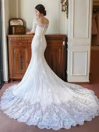 half lace wedding dress the shoulder half sleeve mermaid lace wedding dress tbdress com