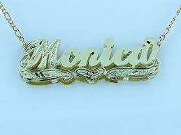 Personalized Name Plate Necklaces Personalized 14k Gp 3d Double Plated Script Name Plate Necklace
