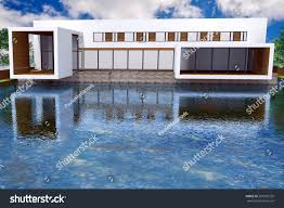 Modern Mansion 3d Rendering Modern Mansion Swimming Pool Stock Illustration
