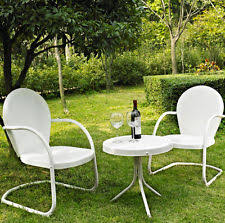 Retro Patio Chair Vintage Bistro Table Set 3 Pc Patio Furniture Retro Metal Lawn