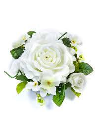 bouquet de fleurs roses blanches centre de table fleurs artificielles roses blanches 20 cm
