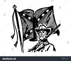 Confederate Flag Black And White Confederate Flag Retro Clipart Illustration Stock Vektorgrafik