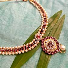 red stones gold necklace images Necklace set pearl red stone gold plated indian jewellery set jpg