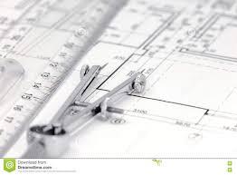 measurement tools on floor plan background stock photo image