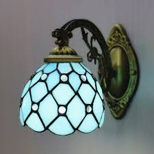 Stained Glass Wall Sconce Bronze Armed Blue Stained Glass One Light Wall Sconce