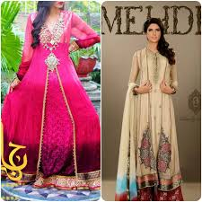 stylish front open double shirt frock and gown designs 2017 2018