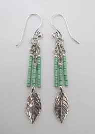 Handmade Seed Beaded Gold Plated Seed Bead Leaf Charm Dangle Earrings Green Wire Wrapping