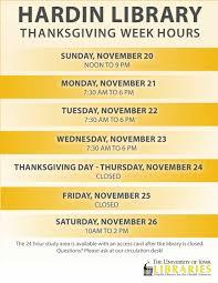 thanksgiving hours hardin library sunday nov 20 saturday