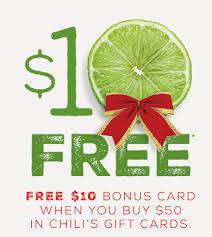 chili gift card chili s free 10 bonus gift card with purchase